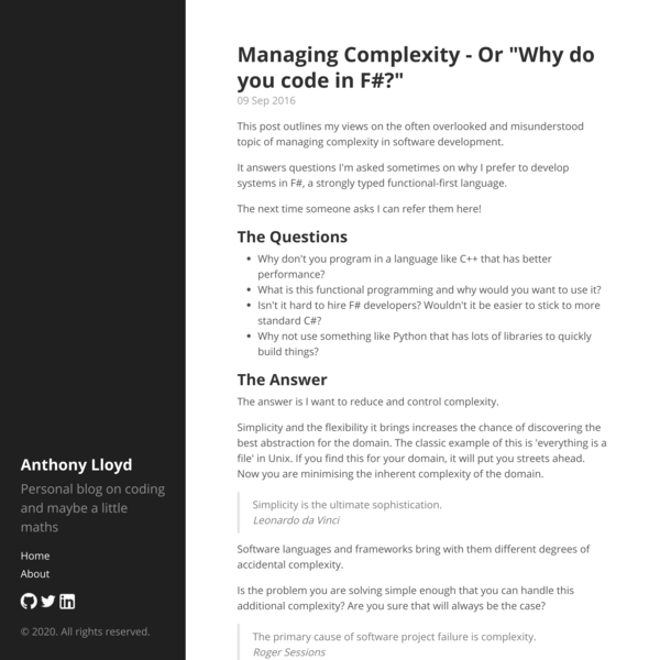 """Managing Complexity - Or """"Why do you code in F#?"""" · Anthony Lloyd"""