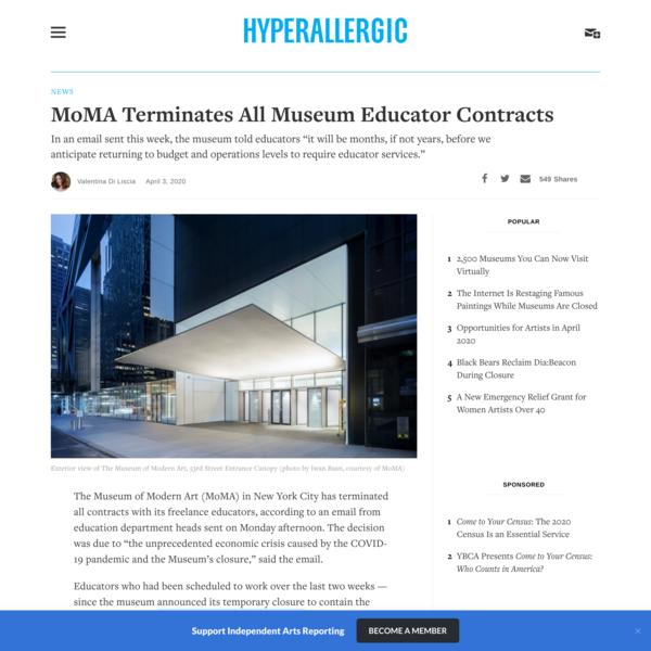 MoMA Terminates All Museum Educator Contracts