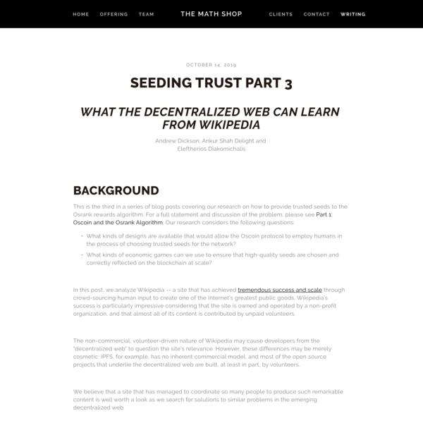 Seeding Trust Part 3 — The Math Shop