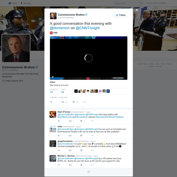 Commissioner Bratton on Twitter