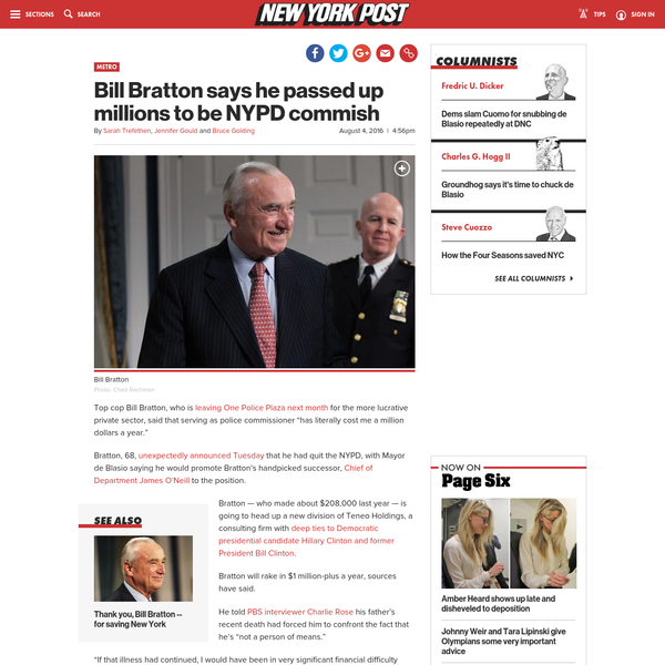 Bill Bratton says he passed up millions to be NYPD commish