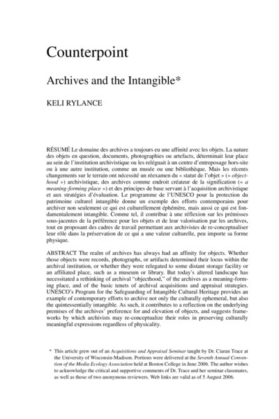 Counterpoint: Archives and the Intangible*
