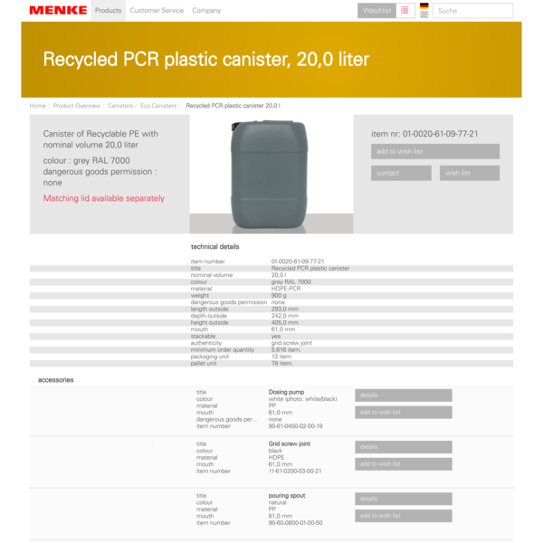 Recycled PCR plastic canister, 20,0 l of HDPE-PCR in grey RAL 7000 with Dang. goods perm.