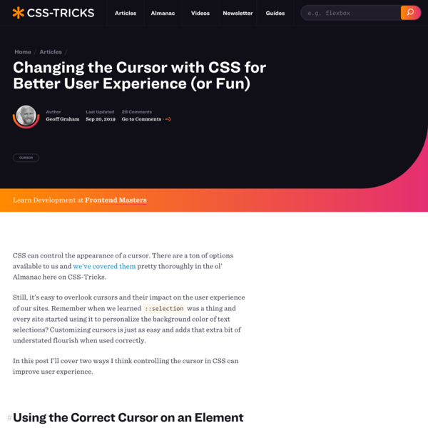 Changing the Cursor with CSS for Better User Experience (or Fun) | CSS-Tricks
