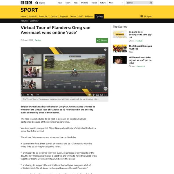 Virtual Tour of Flanders: Greg van Avermaet wins online 'race'