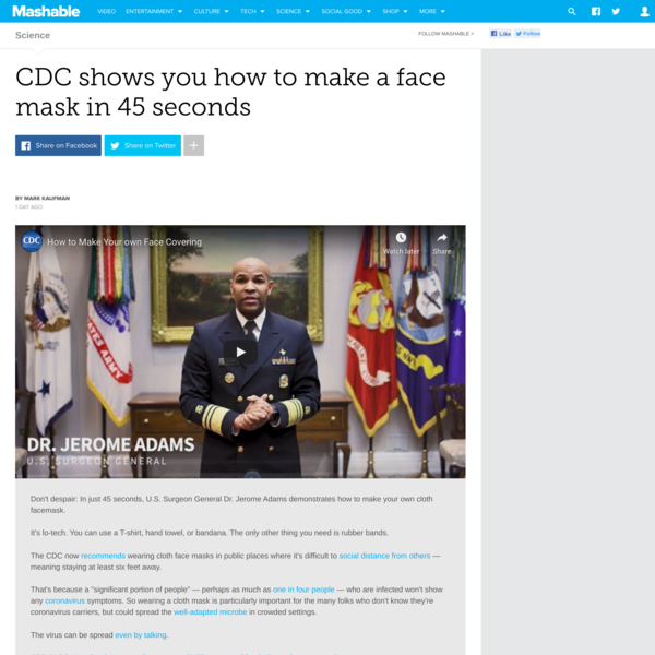 CDC shows you how to make a face mask in 45 seconds