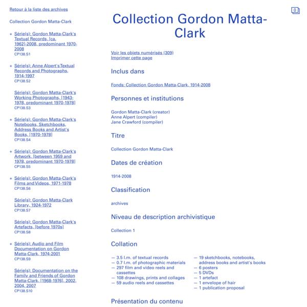 Collection Gordon Matta-Clark