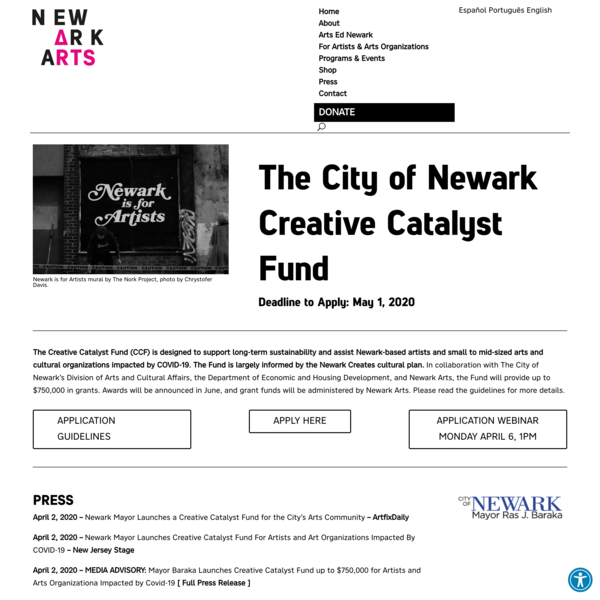The City of Newark Creative Catalyst Fund