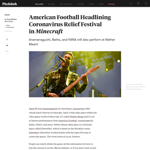American Football Headlining Coronavirus Relief Festival in Minecraft