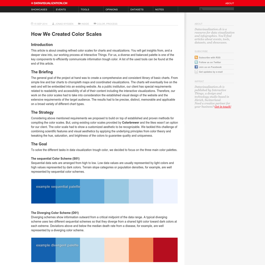 This article is about creating refined color scales for charts and visualizations. You will get insights from, and a deeper view into, our working process at Interactive Things. For us, a diverse and balanced palette is one of the key components to efficiently communicate information trough color.