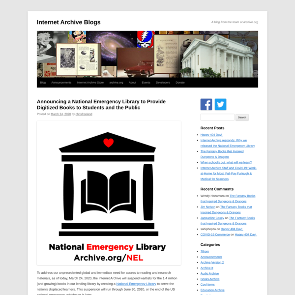 Announcing a National Emergency Library to Provide Digitized Books to Students and the Public | Internet Archive Blogs