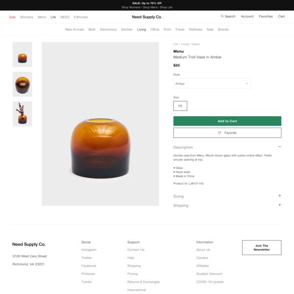 Menu Medium Troll Vase in Amber