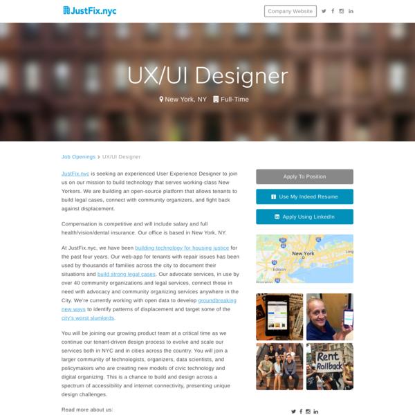 JustFix.nyc, UX/UI Designer