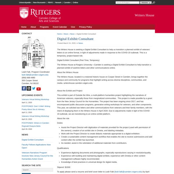 Rutgers Writers House, Digital Exhibit Consultant