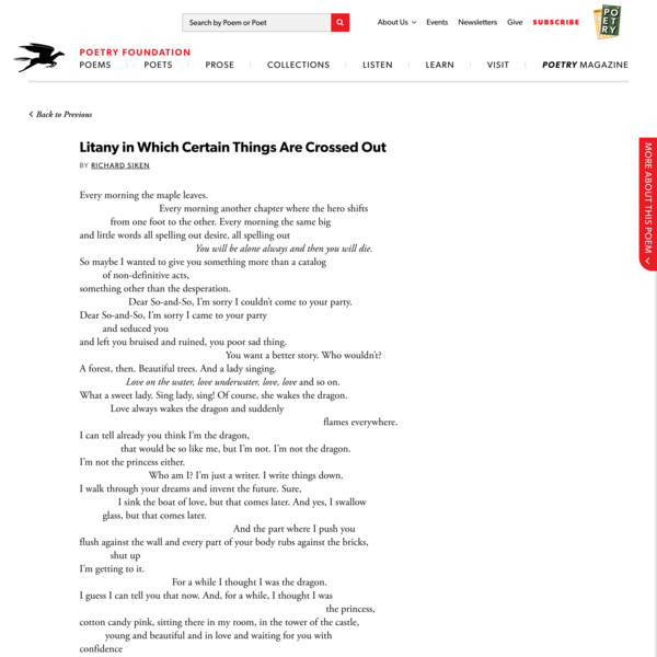 Litany in Which Certain Things Are Crossed Out by… | Poetry Foundation
