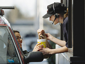 The way that Daily interactions (buying food at the drive-thru) can extend into long chains of good will ( continually paying for the next person's meal)