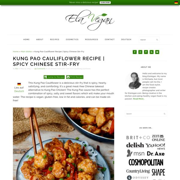 Kung Pao Cauliflower Recipe | Spicy Chinese Stir-Fry - Elavegan