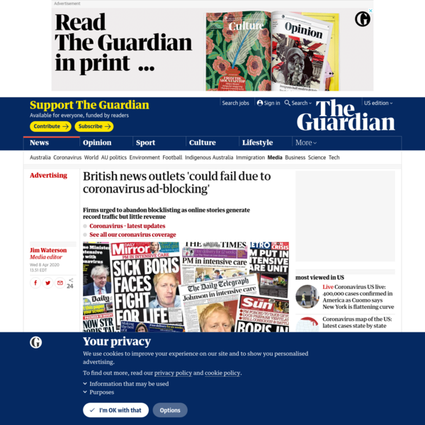 British news outlets 'could fail due to coronavirus ad-blocking'