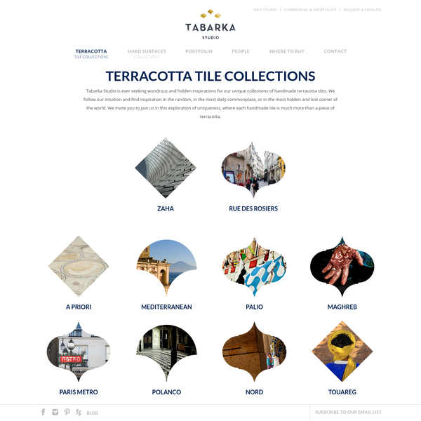 Handmade terracotta tile collections - Tabarka Studio