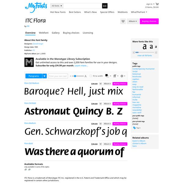 """ITC Flora® - Webfont & Desktop font """" MyFonts"""