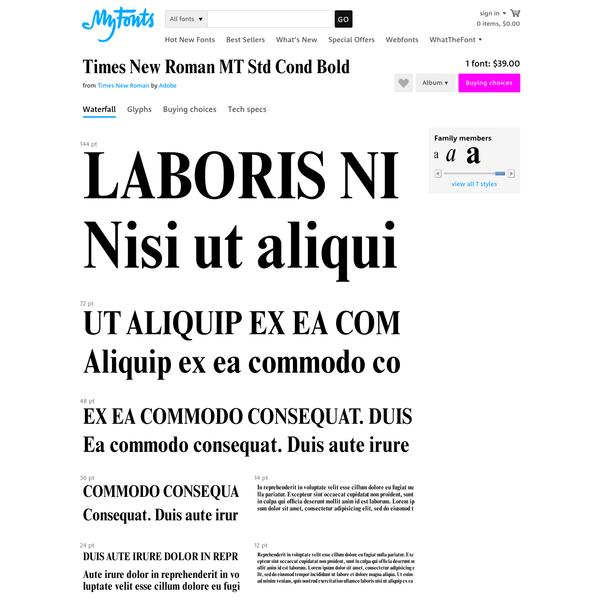 "Times New Roman MT Std Cond Bold - Desktop font "" MyFonts"