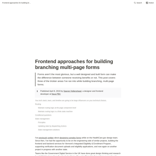 Frontend approaches for building branching multi-page forms