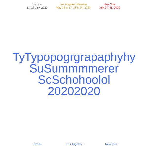 Typography Summer School 2020
