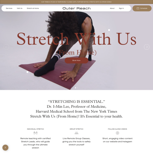 Outer Reach Stretch Studio Tribeca | 1on1, Group Stretching Classes NYC