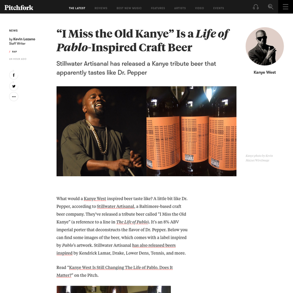 """""""I Miss the Old Kanye"""" Is a Life of Pablo-Inspired Craft Beer"""