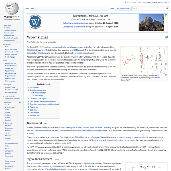 Wow! signal - Wikipedia, the free encyclopedia