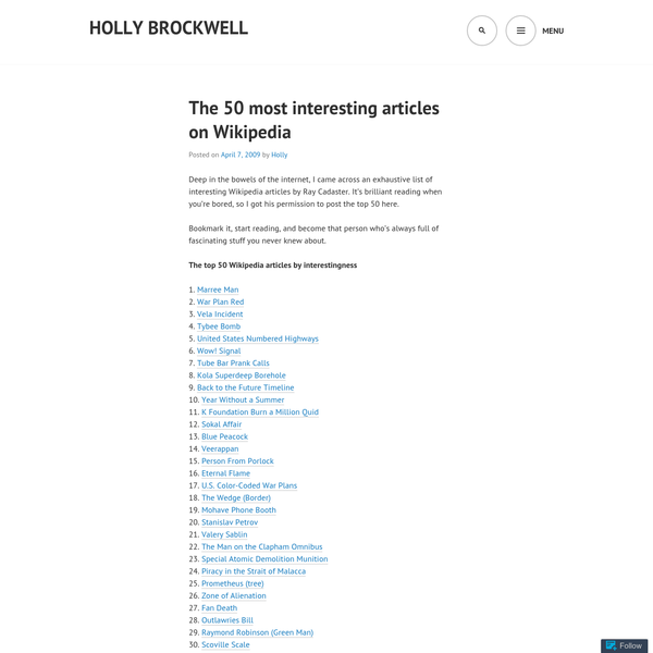 The 50 most interesting articles on Wikipedia