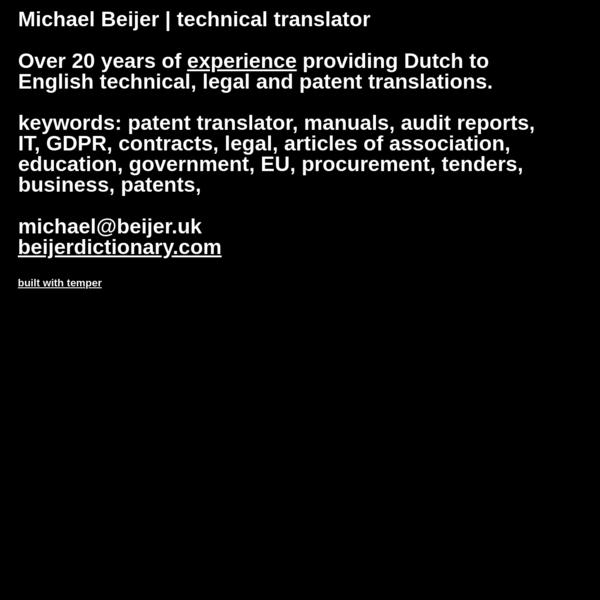 Michael Beijer | Technical translator