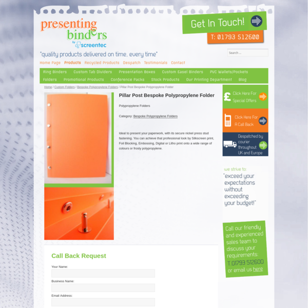 Pillar Post Bespoke Polypropylene Folder - Presentingbinders