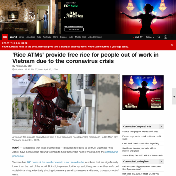 'Rice ATMs' provide free rice for people out of work in Vietnam due to the coronavirus crisis