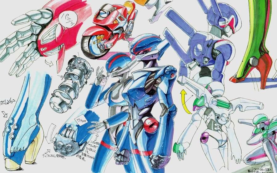 Shinji Aramaki's production sketches for Bubblegum Crisis