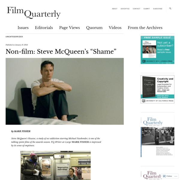 """Non-film: Steve McQueen's """"Shame"""""""