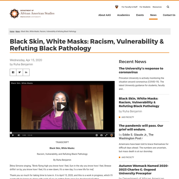 Black Skin, White Masks: Racism, Vulnerability & Refuting Black Pathology
