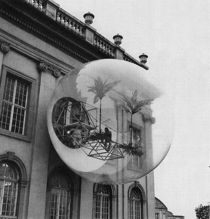 Oase No. 7 was designed as part of the Documenta 5 exhibition in Kassel, 1972. The Cloud by Coop Himmelb(l)au was also designed to be featured in Documenta 5, however it remained unbuilt.   Oase No. 7 is a transparent sphere with a diameter of 8 metres, the sphere was placed in front of the main facade on the Friedericianum. A catwalk made of standard tubular steel sections projected through the window from the interior of the building into the transparent sphere. A tubular steel ring was fixed to this footbridge, at a slight distance from the façade. This ring formed the external support for a PVC foil shell that formed a sphere when inflated into shape by an air pump.  http://architectuul.com/architecture/oase-no-7