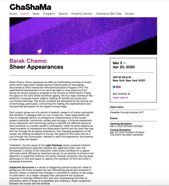 Barak Chamo: Sheer Appearances - Sheer Appearances   Chashama