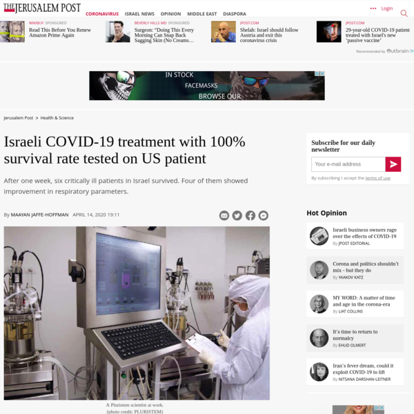 Israeli COVID-19 treatment with 100% survival rate tested on US patient - The Jerusalem Post
