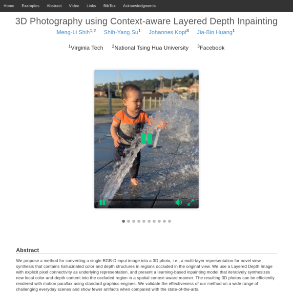 3D Photography using Context-aware Layered Depth Inpainting