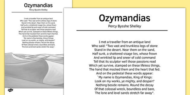 a review of romanticism in ozymandias a poem by percy bysshe shelley Find helpful customer reviews and review ratings for percy bysshe shelley at amazon to his poetry as was the case in ozymandias than a romantic poet.
