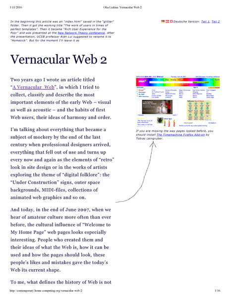 Olia Lialina – Vernacular Web