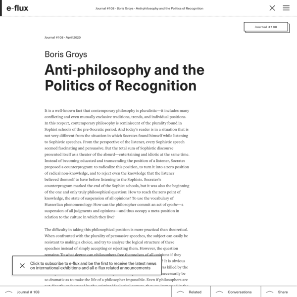 Anti-philosophy and the Politics of Recognition