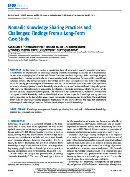 Nomadic Knowledge Sharing Practices andChallenges: Findings From a Long-Term Case Study