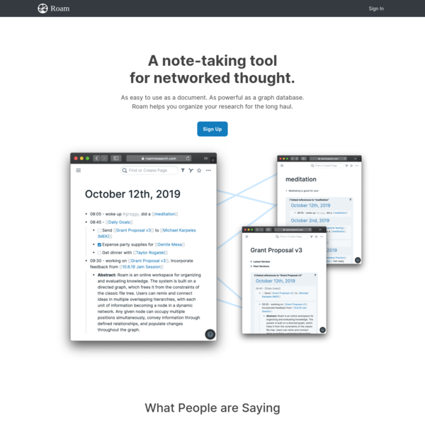 Roam Research – A note taking tool for networked thought.