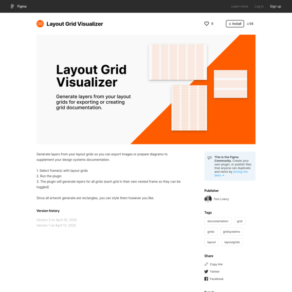 Figma - Layout Grid Visualizer | Generate layers from your layout grids so you can export images or prepare diagrams to supp...