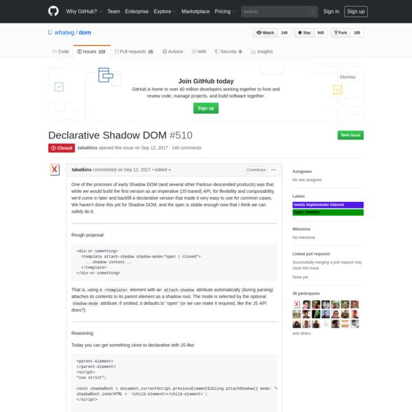 Declarative Shadow DOM · Issue #510 · whatwg/dom