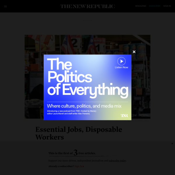 Essential Jobs, Disposable Workers