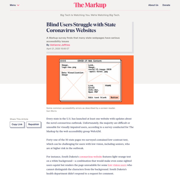 Blind Users Struggle with State Coronavirus Websites - The Markup